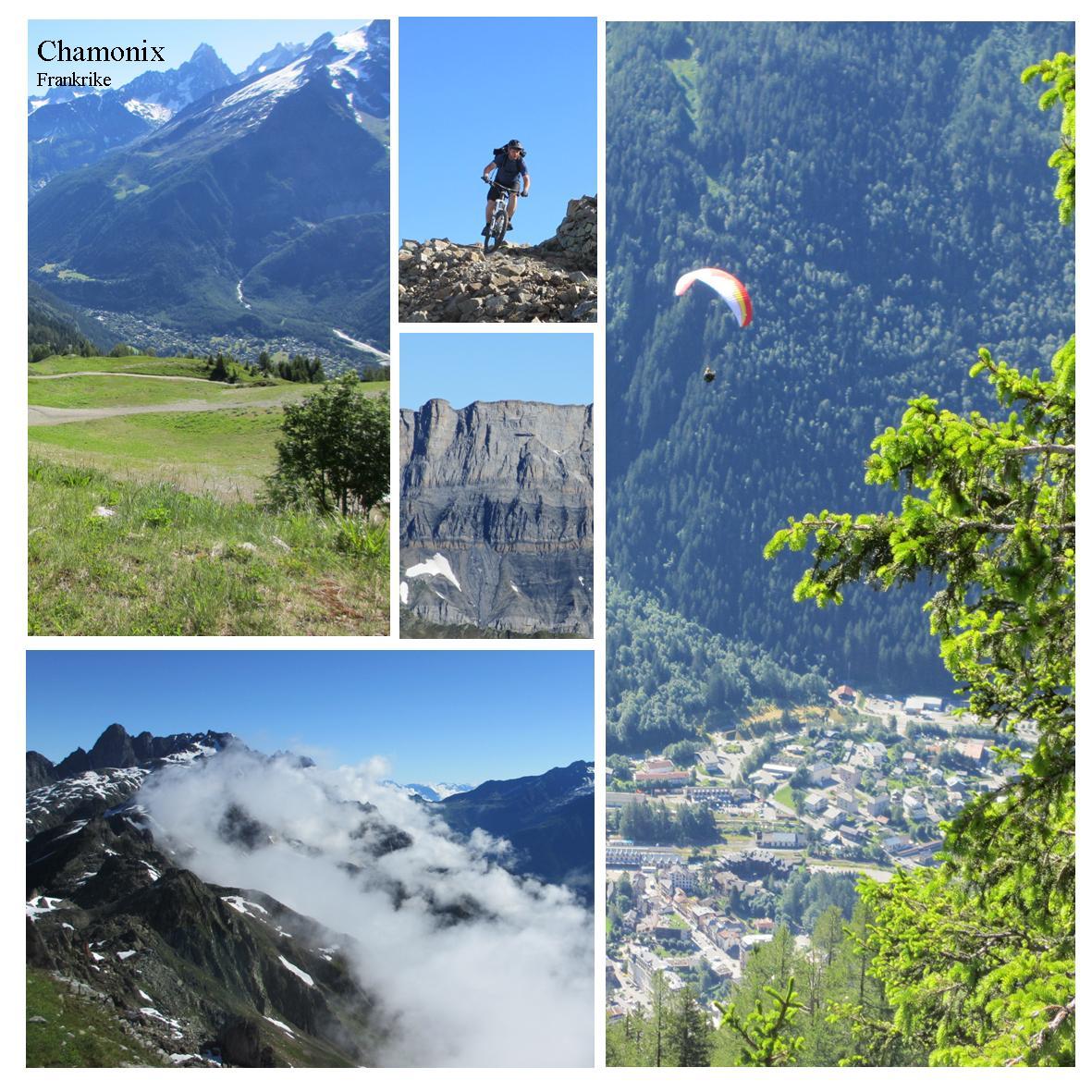 Sommer i Chamonix med høye fjell