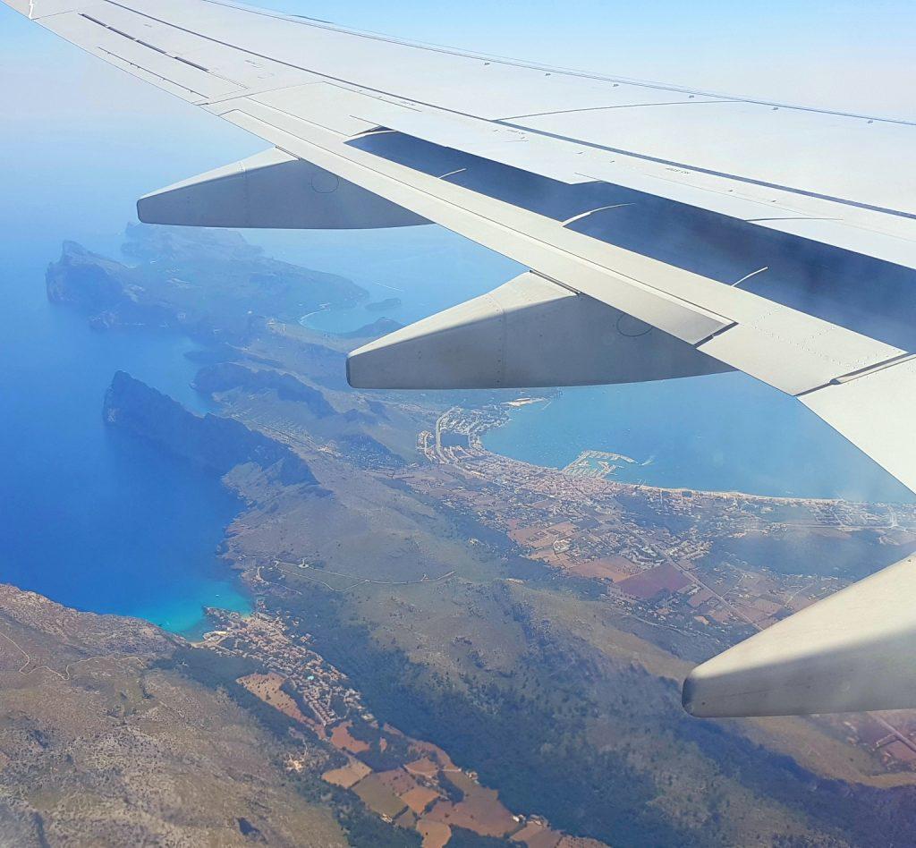 Flyreise til Mallorca - utsikt fra flyet
