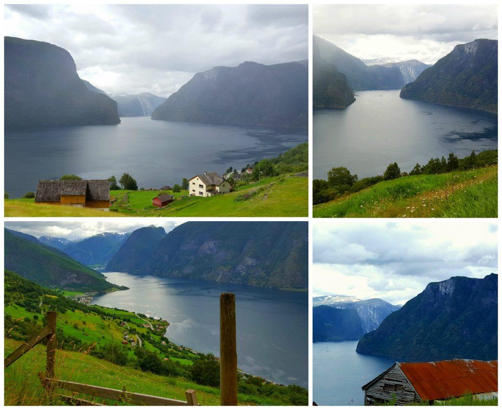 Utikt mot Aurlandsfjorden fra bilvindu på bilferie
