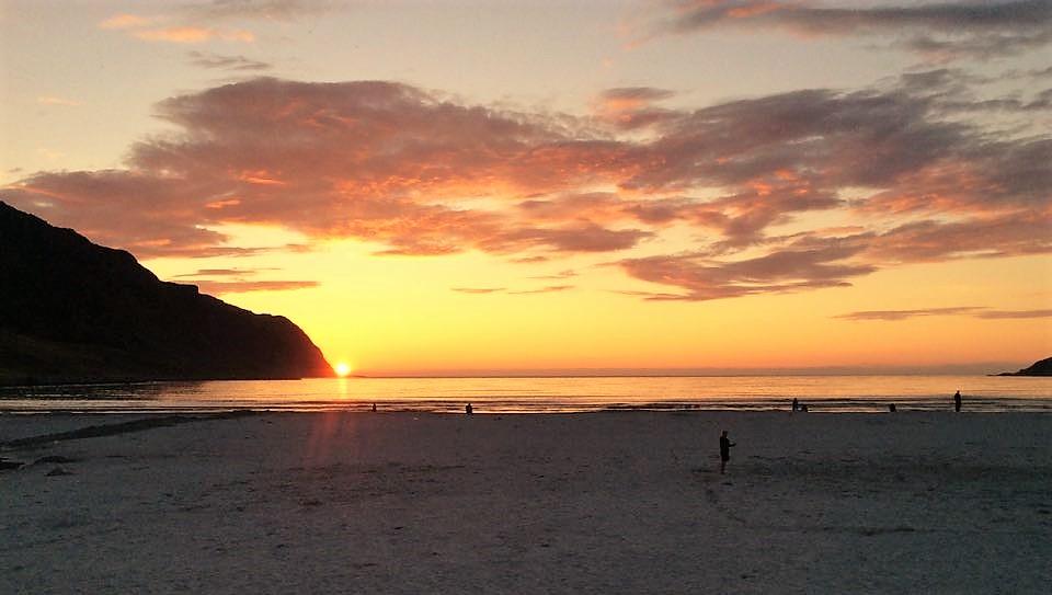 Solnedgang Refviksanden Vestlandet bilferie