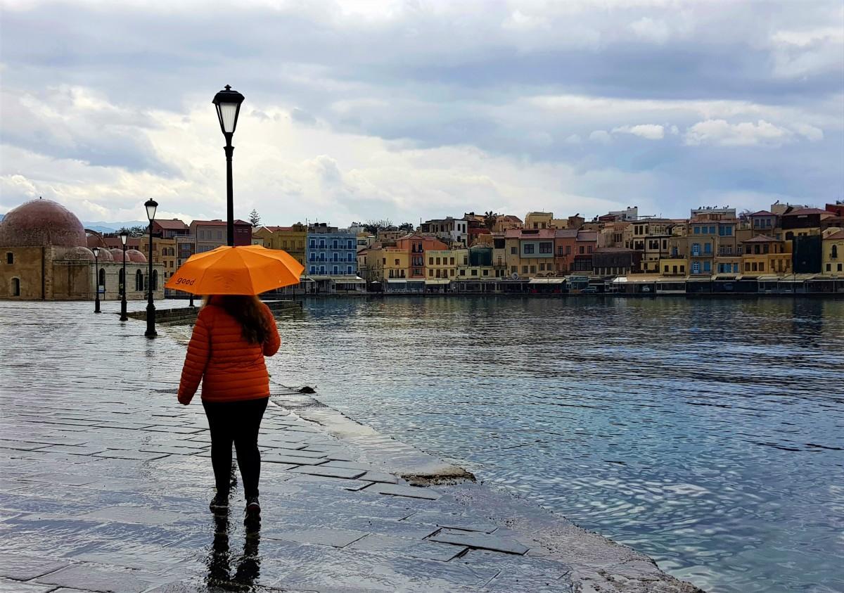 Chania på Kreta med regnvær