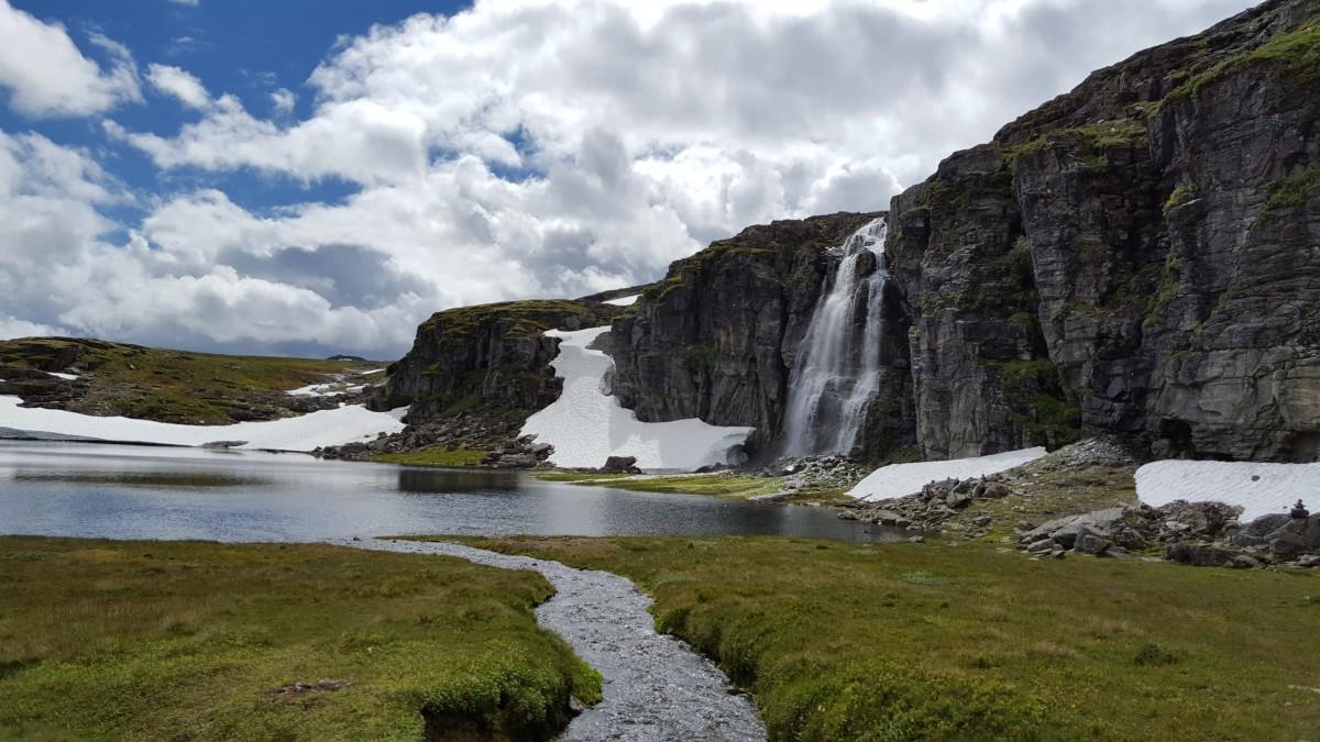 Snøvegen Aurlandsfjellet Flotane Foss