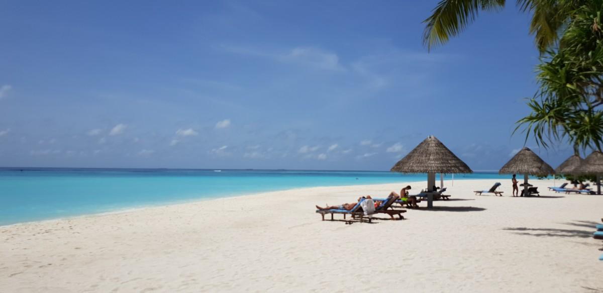 Late dager på stranden på Sun Island Maldivene