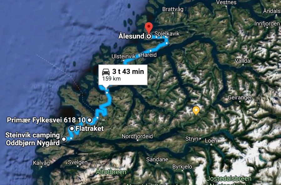 Bilferie Vestlandet - reiserute fra Vågsøy til Ålesund