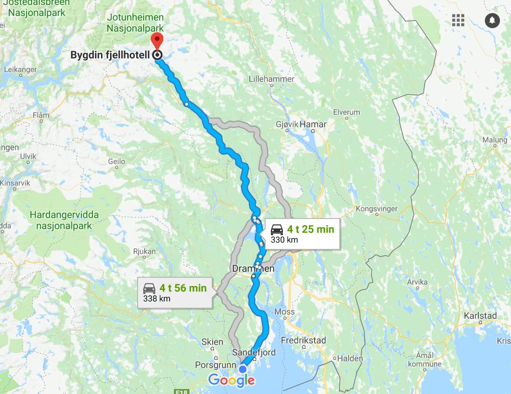 Kart over reiserute dag 1 - Bilferie Norge