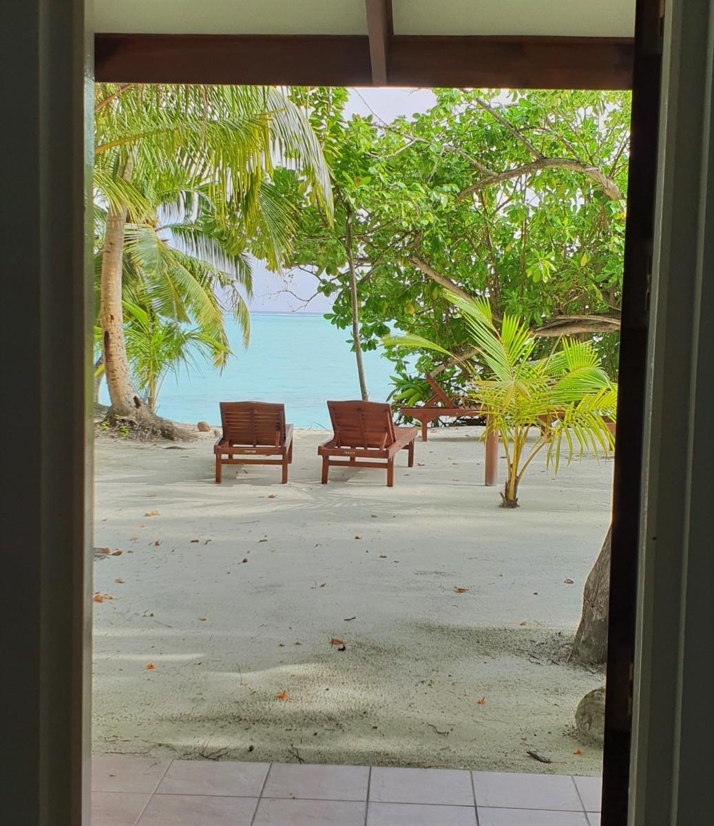 Strandbungalow på Sun Island Resort Maldivene.
