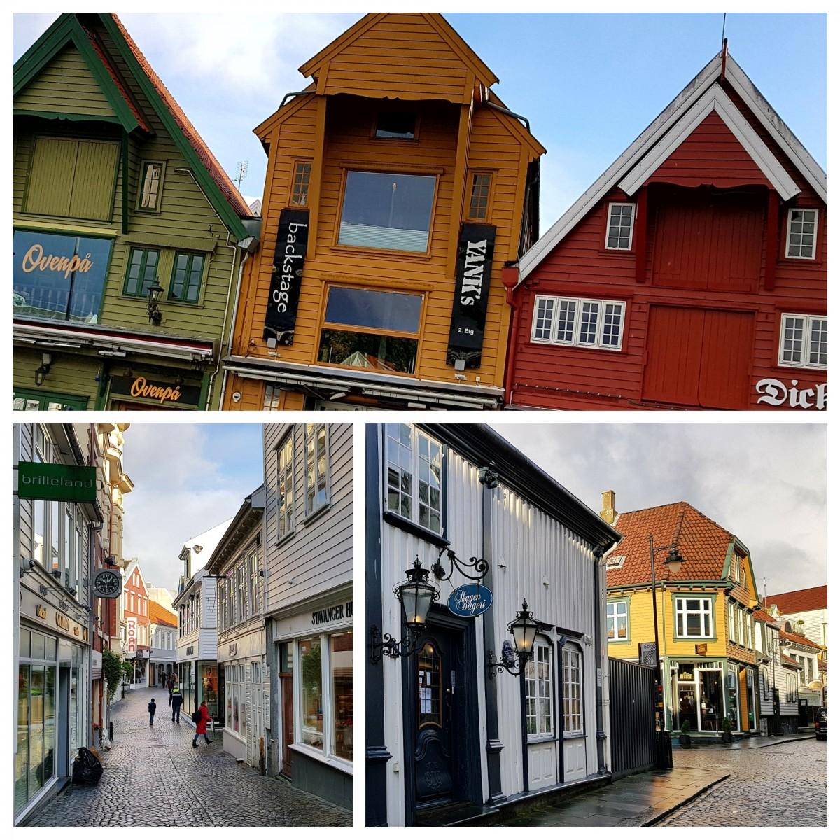 Handlegater og restauranter på østsiden av Vågen i Stavanger